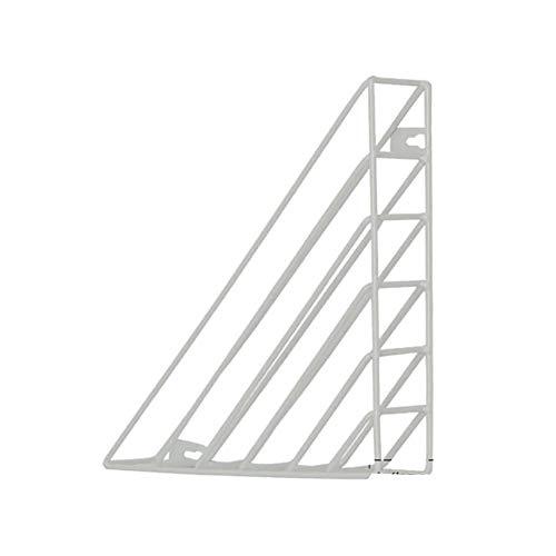 Saiko Zeitschriftenhalter für Zeitschriften, Wandhalterung, Metallgitter, Eisendraht, Wandmontage, dreieckig, Zeitung, Mail, Dokumente, Desktop Organizer (Weiß)