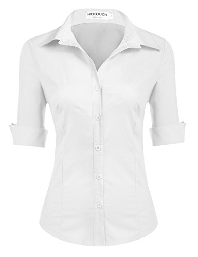 Hotouch Womens Roll Up 3/4 Sleeve Button Down Shirt with Stretch (White L)