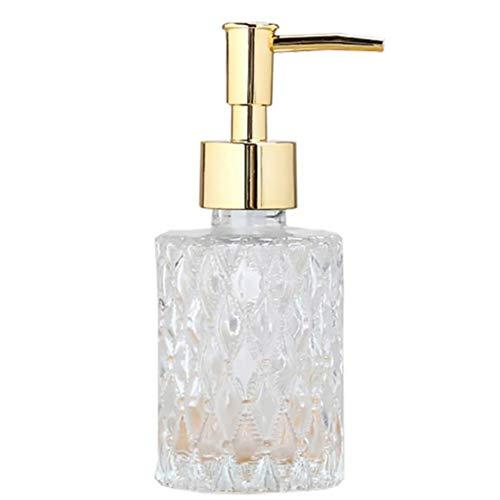 Jcevium Dispenser multiuso per sapone in mesa, facile da pulire, in vetro, perfetto per KüChe e bagno (oro)
