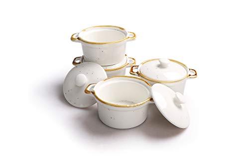 ONEMORE Ramekin Baking Dish with Lid – Round Mini Casserole Dish with Lid, Set of 4, Souffle Dish (White)