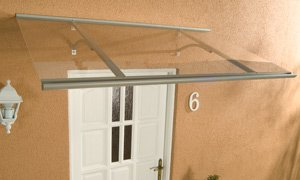 Alu-Pultvordach Haustürvordach Vordach Klassik Silber 160 x 85 x 38 cm