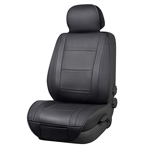 Amazon Basics Deluxe Sideless Universal Fit Leatherette Seat Cover, Black