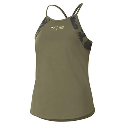 PUMA The First Mile Tank Camiseta De Tirantes, Mujer, Burnt Olive-Camo PRT, XL