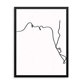 Minimalist Single Line Wall Decor Art Print Line Drawing Couple s Poster - Man Woman Kissing Silhouette -UNFRAMED- Couples Love Kiss - Modern Abstract Artwork for Living Room Bedroom Bathroom Picture Gallery  11 x14  KISSING NECK