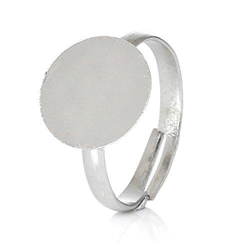 Anneau sadingo BD-R Surface adhésive – Lot de 20 – Argent – 10 mm – pour bijoux bricolage – DIY Accesorios