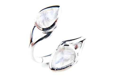 Mondstein Ring 925 Silber Sterlingsilber Damenring weiß verstellbar (MRI 88-04)