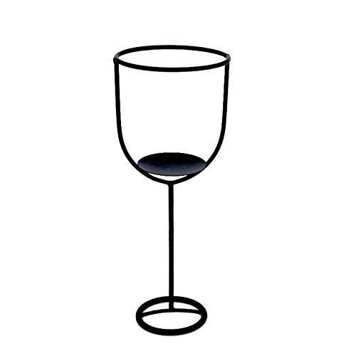JXXU Geometrischer Weinglas Kerzenständer Portavelas de Metal forjado artesanalCena romántica a la luz de las decoración Kunstflor planta en maceta, Schwarz, A