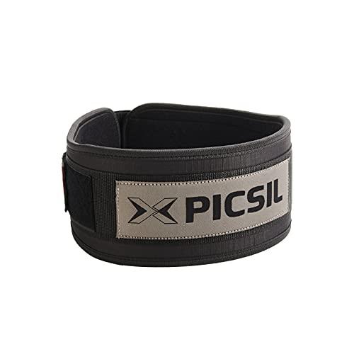 PicSil Cinturón Lumbar para Levantamiento de Pesas, Soporte Lumbar, Ideal para Sentadillas, Peso Muerto, Zancadas, Cinturón Personalizable con Espacio para Parches, 3 Colores, 5 Tallas (Negro, S)