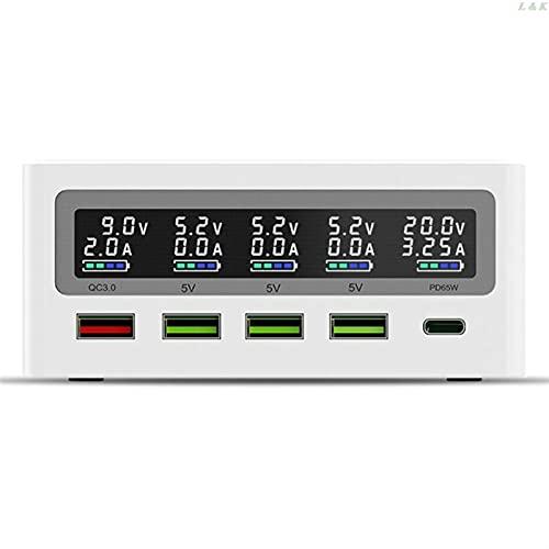YANHAI Haiyan Store USB C PD 65W Adaptador de Carga rápida 5-Puerto QC3.0 USB 10W Estación de Cargador inalámbrica 667C (Plug Type : EU)