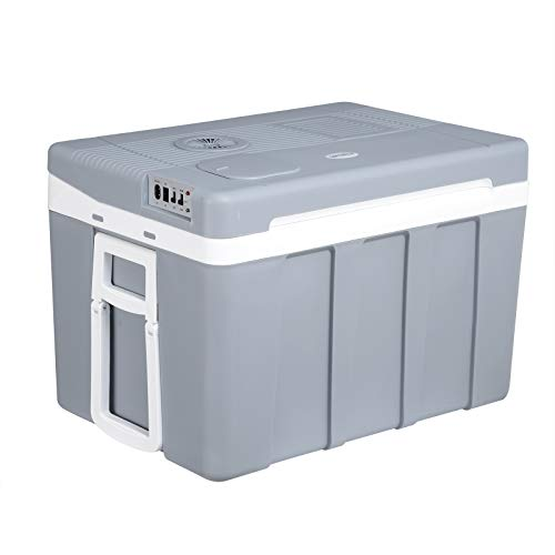 WOLTU KUE003gr Kühlbox, Tragbarer Mini Kühlschrank, 50 Liter Isolierbox zum Warmhalten, Kühlen für Auto, Van, Fahrzeug, Boot mit Räder für Camping, Reisen, Angeln - DC 12V & AC 220V Grau [EEK A++]