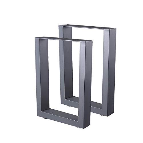 Zelsius Tischbeine Tischkufen Tischgestell 2 Stück Metall Kufen Rohstahl oder Grau I verschiedene Größen I Industrie ((B) 30 x (H) 43 cm, Grau (Pulverbeschichtung))