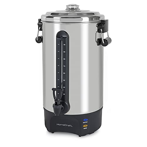 HomeCraft HCCU100SS Quick-Brewing Stainless Steel 1500-Watt Automatic 100-Cup Coffee Urn Perfect for Espresso, Water, Tea, Hot Chocolate