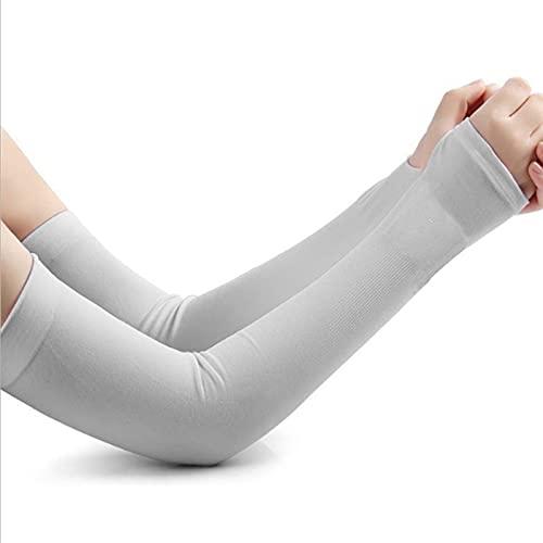 Hermosa Manga del brazo 1 par de protección solar y guantes de protección UV Enfriamiento de las mangas de brazo deportivo para correr Mangas de montar a caballo de pesca (color: gris, tamaño: