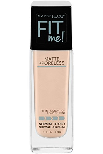 Maybelline Fit Me Matte + Poreless Liquid Foundation Makeup, Natural Ivory, 1 fl. oz. Oil-Free Foundation