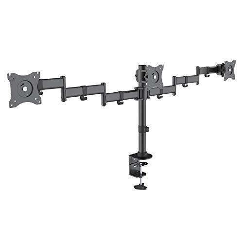 Sbox LCDD-352/6 tafelstandaard met armen voor 3 schermen/monitoren van 33 tot 32 inch, VESA 75 x 75 en 100 x 100, kantelbaar en draaibaar 30 kg.