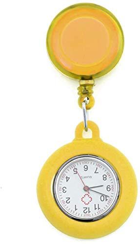 LLGG Prendedor De Broche Reloj De Bolsillo,Reloj de Enfermera portátil con Hebilla, Reloj médico retráctil-Amarillo,Reloj De Enfermera Resistente Al Agua