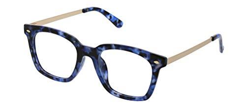 Peepers by PeeperSpecs Women's Blocking Glasses-Limelight Oversized Reading, Navy Tortoise-Focus Blue Light Filtering Lenses, 50 mm + 2