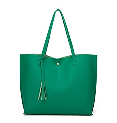 Women's Soft Faux Leather Tote Shoulder Bag from Dreubea, Big Capacity Tassel Handbag Green