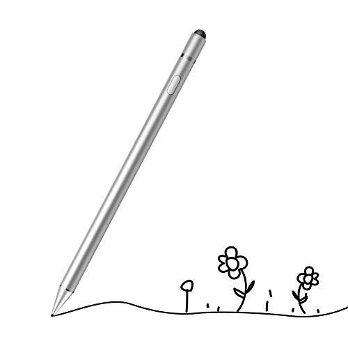 CHIALSTAR Active Stylus Digital Pen with 1.5mm Ultra Fine Tip Compatible for iPad iPhone Samsung Tablets, Work at iOS and Android Capacitive Touchscreen,Good for Drawing and Writing on IPAD (Silver)
