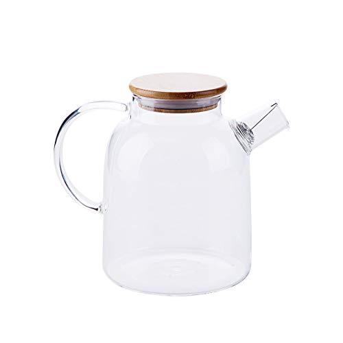 Tetera de vidrio con filtro de bobina de alambre desmontable para té suelto, caja fuerte en la cocina, caldera de jarra de jarra de jarra de agua caliente/fría resistente al calor, 1800ML