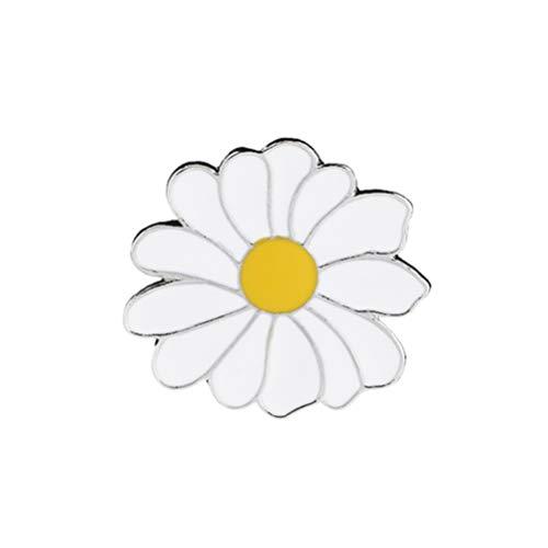 TENDYCOCO Cartoon White Daisy Broche Estilo de Verano Esmalte Lapel Pin Patrón de Planta Insignias Redondas para Camisas de Chaqueta Decortion (Blanco)