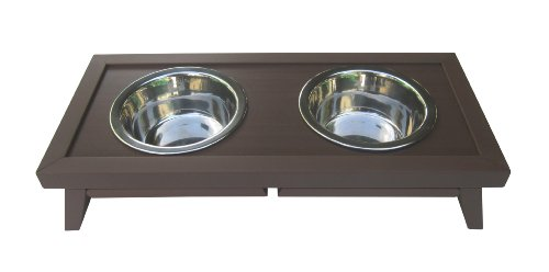 Find Bargain ecoFLEX Adjustable Height Double Dog Bowl by New Age Pet-Small-Russet
