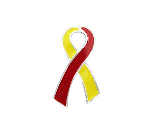Red & Yellow Ribbon Awareness Lapel Pins - Large Flat Pins for Coronavirus Disease (COVID-19), Hepatitis C Awareness, HIV/HCV Co-Infection Awareness (10 Pins)