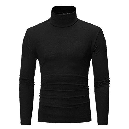 PANBOB Men Pullovers Slim Fit Elegant Comfortable Solid Color High Neck Men's Long Sleeve Spring and Autumn Fashion Casual Classic All-Match Men's Tops E-Black XXL