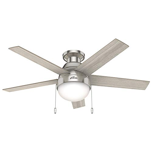 "Hunter Fan Company 50278 Hunter Anslee Indoor Low Profile Ceiling Fan with LED Light and Pull Chain Control, 46"", Brushed Nickel"