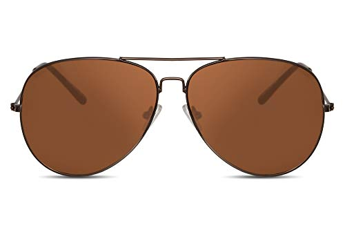 Cheapass Piloten-Sonnenbrille Braun Kupfer UV-400 Flieger-Brille Festival-Accessoire Metall Damen Herren