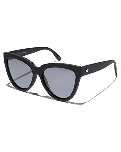 Le Specs Liar Liar Black Rubber Smoke Mono - Sonnebrille für Damen - Gestell Schwarz Matt Glas Grau Polarisiert - Retro Oversized Cateye Form - 1802485