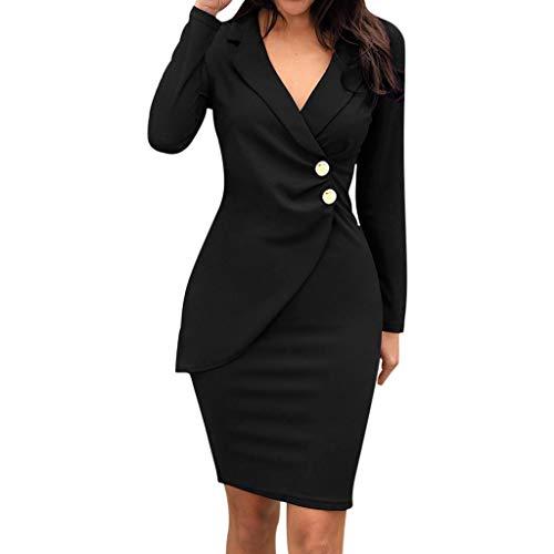 SUNNSEAN Vestido Fiesta Mujer Corto Elegante Vestido De Manga Larga con Cuello Vuelto Liso para Mujer Vestido Formal Botones Trabajo Bodycon Casaul Vestido Ajustado De Negocio (L, Negro)