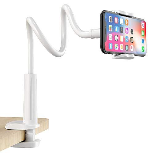 FAPPEN Handy Halter, Schwanenhals Handy Halterung : Universal Flexible Lang Arm Handy Ständer für Phone 11 Pro XS Max XR X 8 7 6 6s Plus, Samsung, und 4-6,5 Zoll Geräte - Weiß