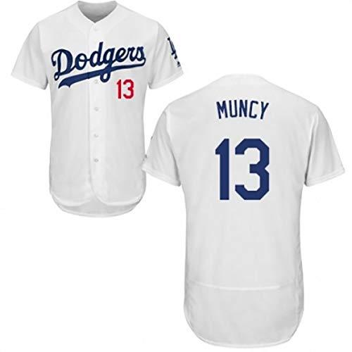 BORUO 2020 MLB Dodgers #13 Muncy Baseball Fan Jersey,Männer Frauen Sommer Sport Atmungsaktiv Hemd,(S-3XL),White,XXL