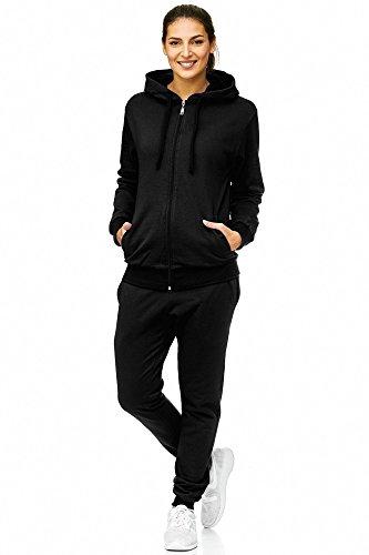 Violento Damen Jogginganzug Uni 586 | 100% Baumwolle | Trainingsjacke mit Reißverschluss | Hose mit Gummizug und Zugband | Rippstrickbündchen | Schwarz, M