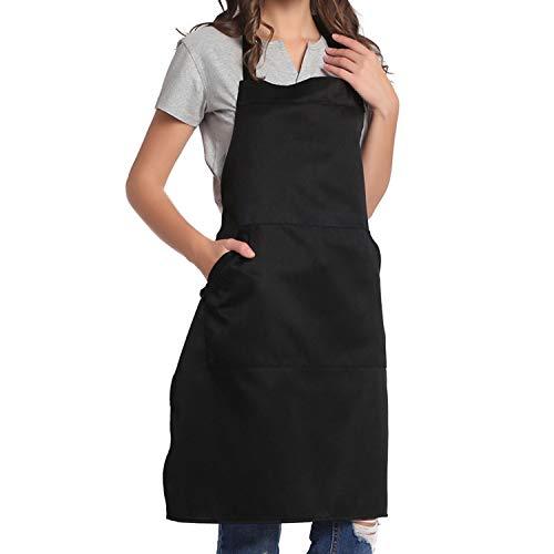 BIGHAS Verstellbare Latzschürze mit Tasche, extra lange Bänder, für Frauen und Männer, Schwarz