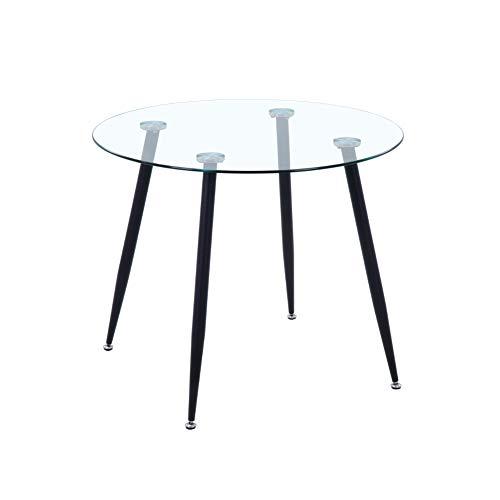 GOLDFAN Esstisch Glas Esszimmertisch küchentisch Glastisch mit Verchromte Beine Moderner Stil Runder Tisch für Wohnzimmer Büro Küche Schwarz 80cm