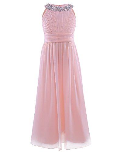 TiaoBug Kinder Mädchen Kleid festlich Lange Brautjungfern Kleider Hochzeit Blumensmädchenkleid Prinzessin Party Kleid Gr. 104-164 Perlen rosa 140