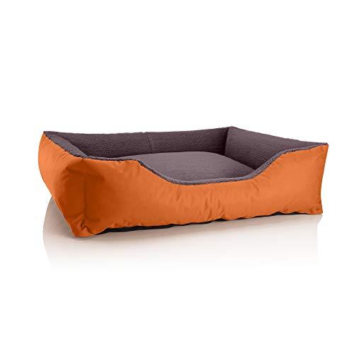 BedDog® Hundebett Teddy, Hundesofa aus Cordura und Microfaser-Velours, waschbares Hundebett mit Rand, Hundekissen Vier-eckig, für drinnen, draußen