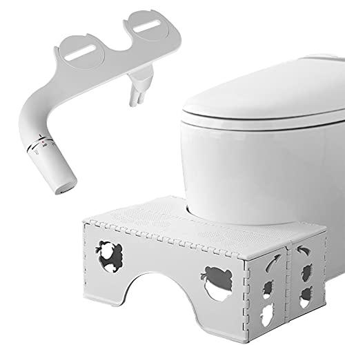 SAMODRA Non-Slip Foldable Poop Stool and Bidet Toilet Seat Attachment for Bathroom