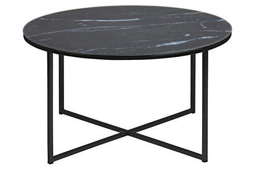AC Design Furniture Couchtisch Antje, B: 80 x T:80 x H: 45 cm, Glas, Schwarz
