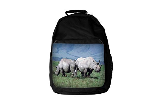 Brilliant Rhino Rhinoceros Couple Going Separate Ways Disappearing of Into The Night to Find Food Animal Lovers Fashion Laptop School Business Travel Backpack Unisex for Men & Women