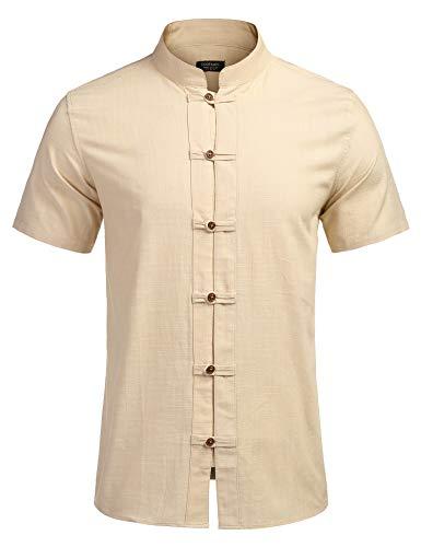 COOFANDY Leinenhemd Herren Kurzarm Regular Fit Herren Hemd Shirt Freizeithemd Herren Sommerhemd