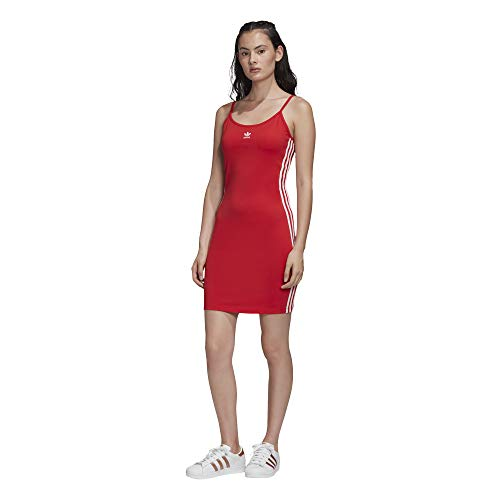 adidas Damen Tank Dress, Lush red/White, 40