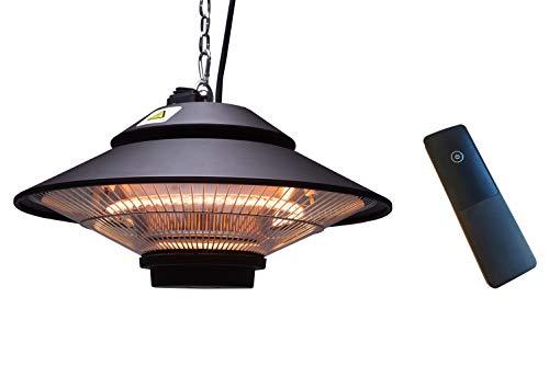 ICQN Deckenheizstrahler | 1500 Watt mit Fernbedienung | Terrassenstrahler | IP34 mit Schutzhülle | Heizpilz | Infrarotdeckenstrahler | Wärmestrahler | Heizstrahler | Balkonheizer