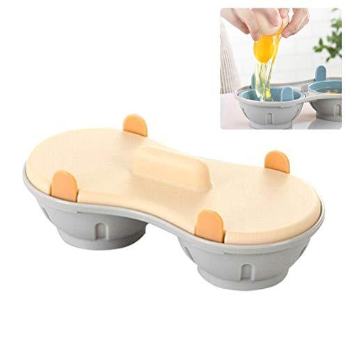 Urisgo Eierkoker voor in de magnetron, draagbaar, dubbele kop, stoomkoker, eitas, keuken, gadget