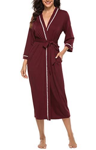 Vlazom Bata para Mujer Algodón Albornoz Mujer Suave Ropa de Dormir Cuello En V Bata de Pijama con Cinturón S-XXL,S,Style A-Burgundy