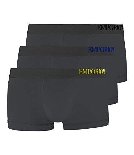 Emporio Armani Underwear Herren Multipack - B-Side Logo 3-Pack Trunk Herrenslip, Grau ANTRAC 23644), Large (Herstellergröße:L)