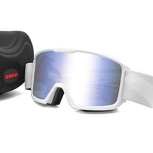 UNIQFUN Ski Goggles, Snow Goggles, Snowboard Goggles, Mirror Lenses, Double Lenses, Anti-Fog, Anti-Slip, Compatible with Glasses, Includes Storage Case, Nose Guard, 99% UV Protection, 3-Layer Sponge, Women's, Men's, All Weather Protection, Breathable, Windproof, Snowproof, Dustproof, Lightweight, Shockproof, Mountain Climbing, Skiing, Snowboarding, Outdoor Sports, white