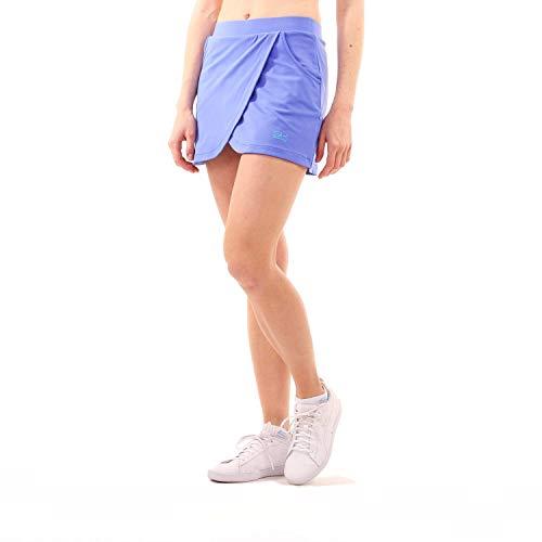 Sportkind Mädchen & Damen Tennis Skort mit Taschen in Wickeloptik, Hockey, Sport Rock mit Innenhose, atmungsaktiv, UV-Schutz, Kornblumen blau, Gr. 140